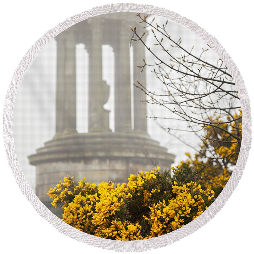Monument Round Beach Towel featuring the photograph Dugald Stewart Monument by Sophie McAulay