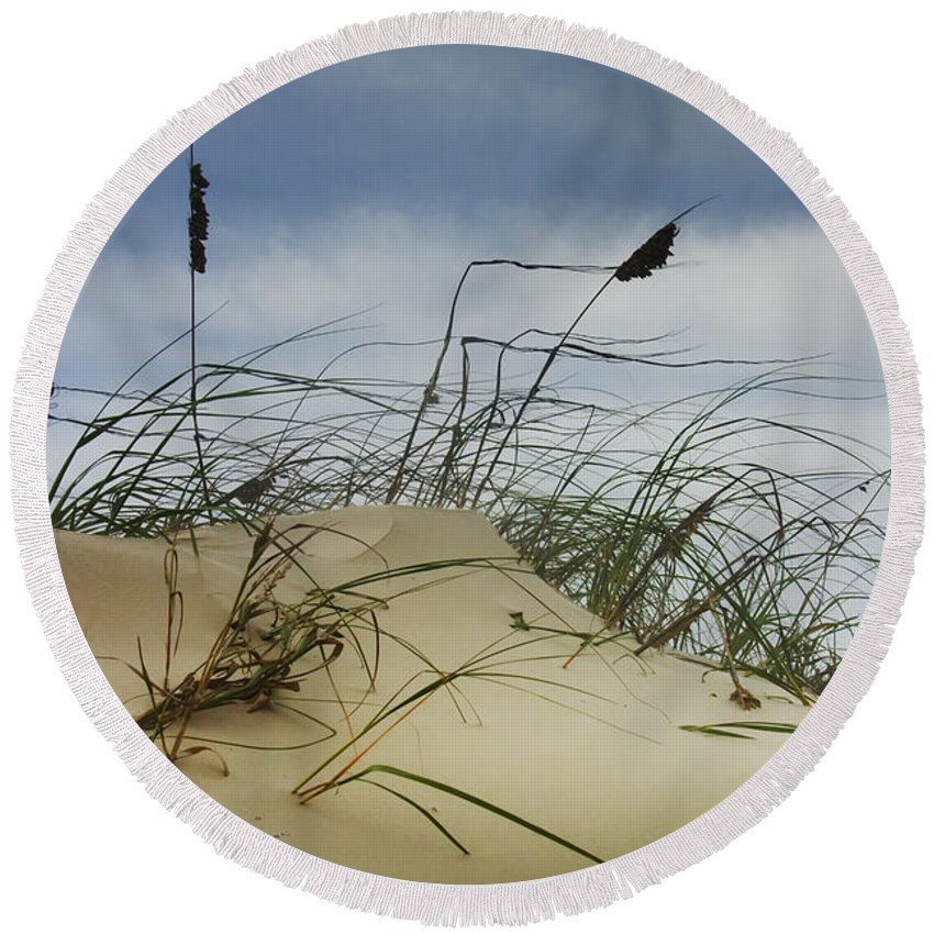 Art Round Beach Towel featuring the photograph Dune And Beach Grass by Randall Nyhof