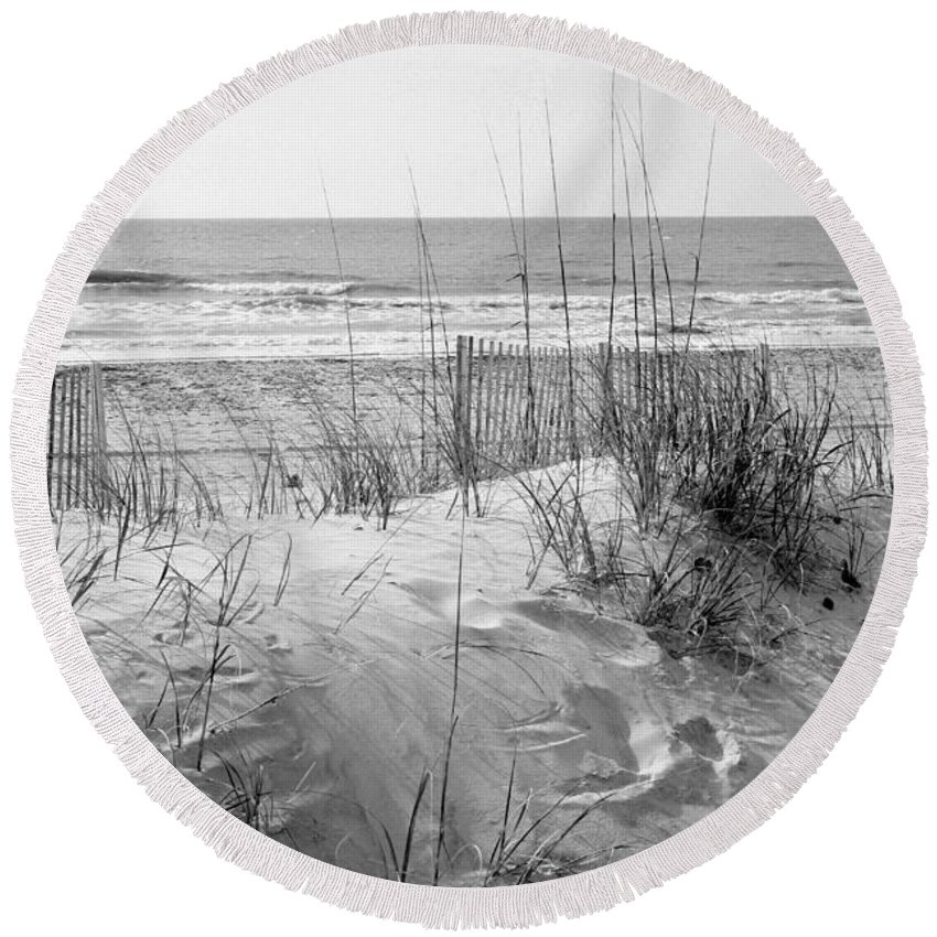Beach Round Beach Towel featuring the photograph Dune - Black And White by Angela Rath