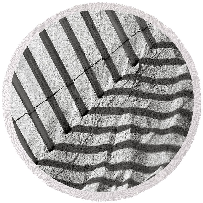 Dune Round Beach Towel featuring the photograph Dune Fence by Charles Harden