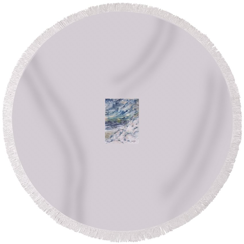 Seascape Round Beach Towel featuring the painting Dunes 2 seascape painting poster print by Derek Mccrea