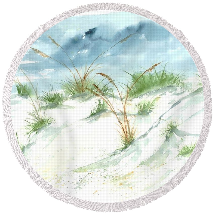 Beach Round Beach Towel featuring the painting Dunes 3 seascape beach painting print by Derek Mccrea