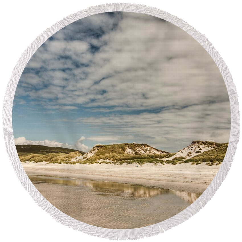 Scotland Round Beach Towel featuring the photograph Dunes by Colette Panaioti