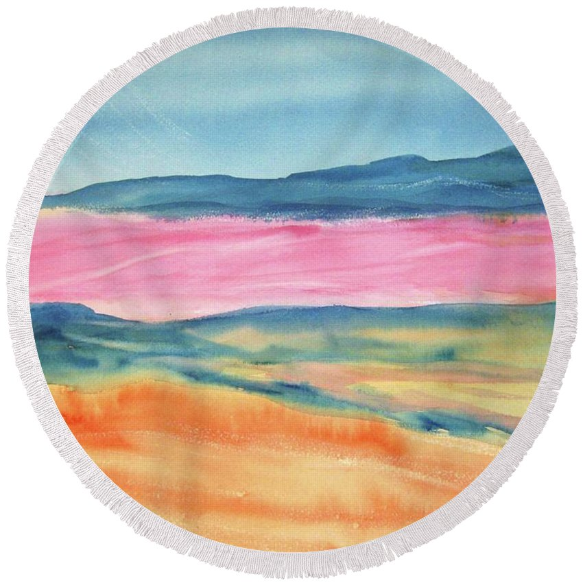 Dunes Round Beach Towel featuring the painting Dunes by Ellen Levinson