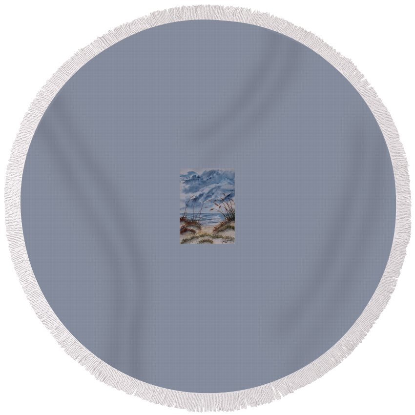 Watercolor Landscape Painting Seascape Beach Round Beach Towel featuring the painting Dunes Seascape Fine Art Poster Print Seascape by Derek Mccrea