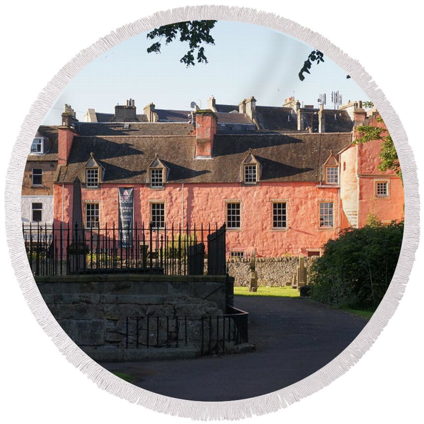 Abbot House Round Beach Towel featuring the photograph Dunfermline. Abbot House. by Elena Perelman