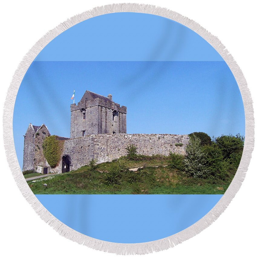 Irish Round Beach Towel featuring the photograph Dunguaire Castle Kinvara Ireland by Teresa Mucha