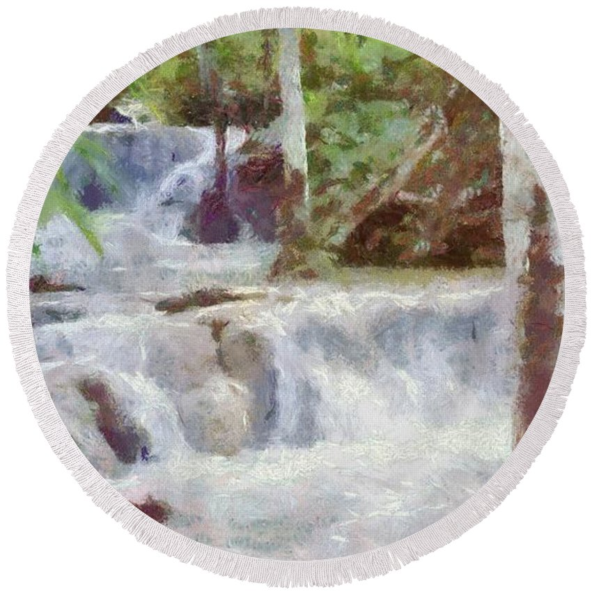 Dunn River Round Beach Towel featuring the painting Dunn River Falls by Jeffrey Kolker
