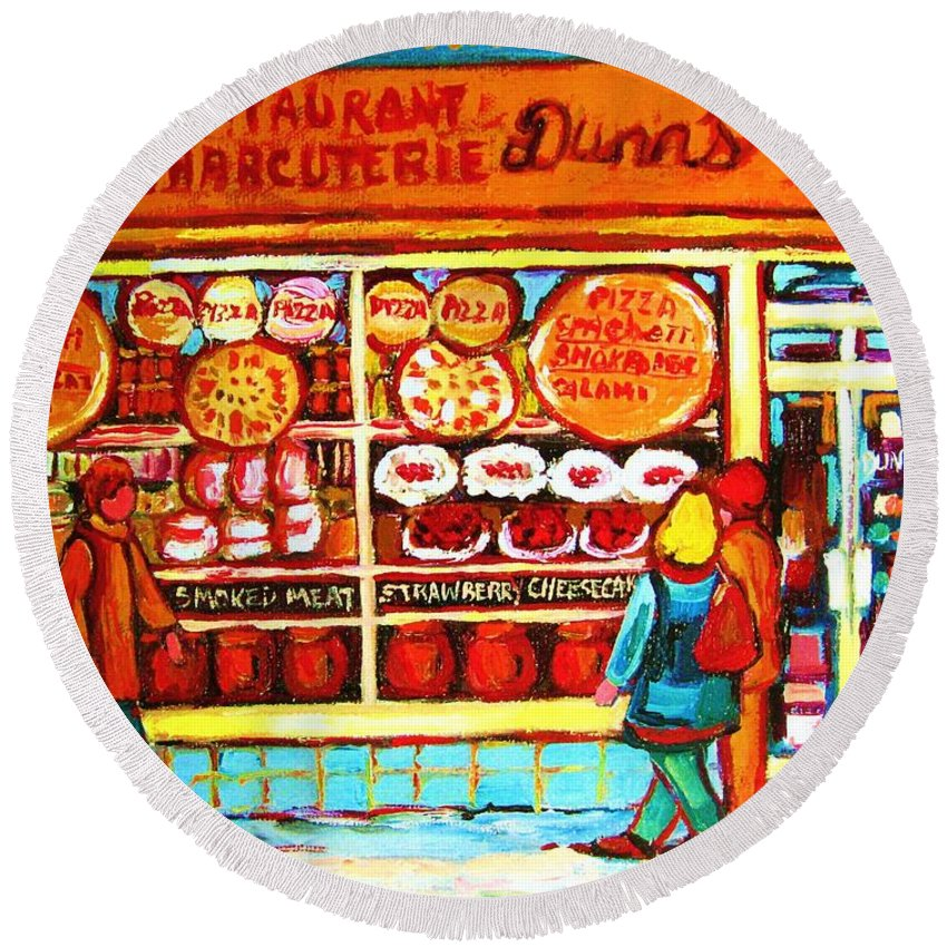 Montreal Round Beach Towel featuring the painting Dunn's Treats And Sweets by Carole Spandau