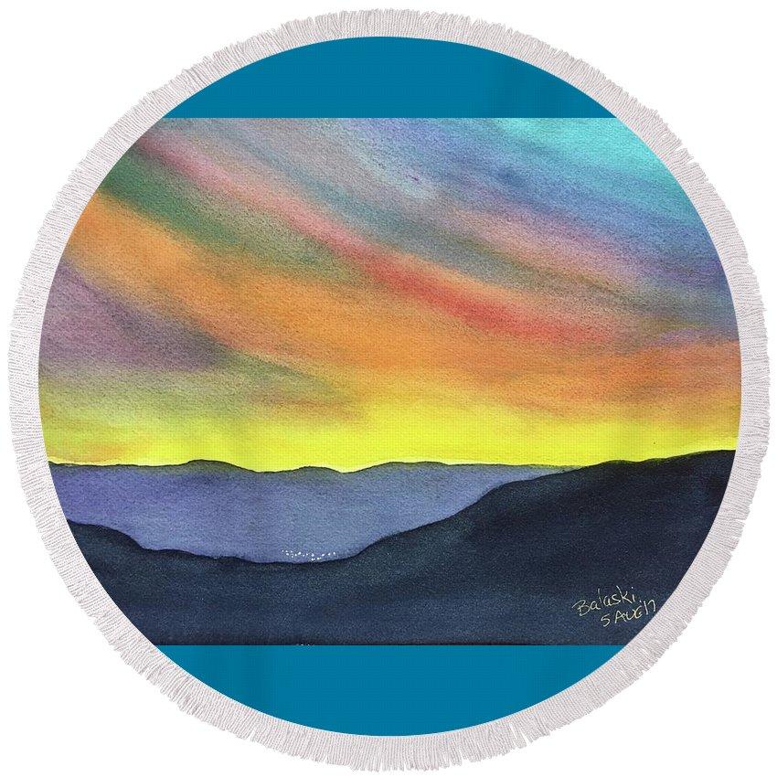 Watercolour Landscape Mountains Rainbow Sky Bethlehem Type City Shining Away Colorado Brilliant Sky Evenling Round Beach Towel featuring the painting Durango by Belinda Balaski