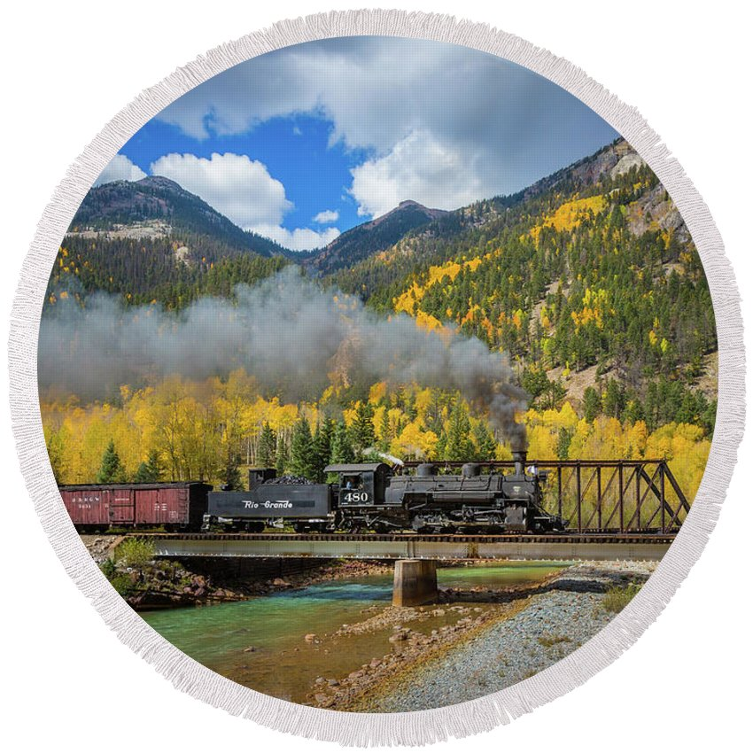 America Round Beach Towel featuring the photograph Durango-silverton Twin Bridges by Inge Johnsson