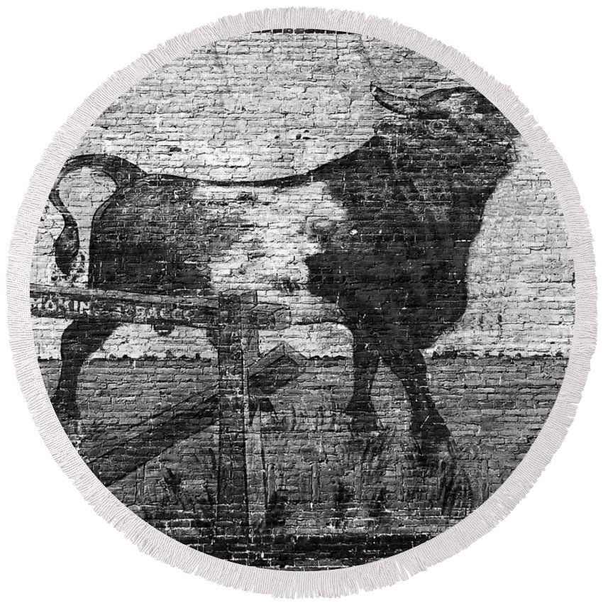 Bull Durham Round Beach Towel featuring the photograph Durham's Bull by David Lee Thompson