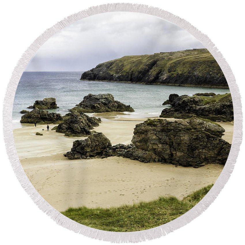 Beach Round Beach Towel featuring the photograph Durness Beach by Fran Gallogly