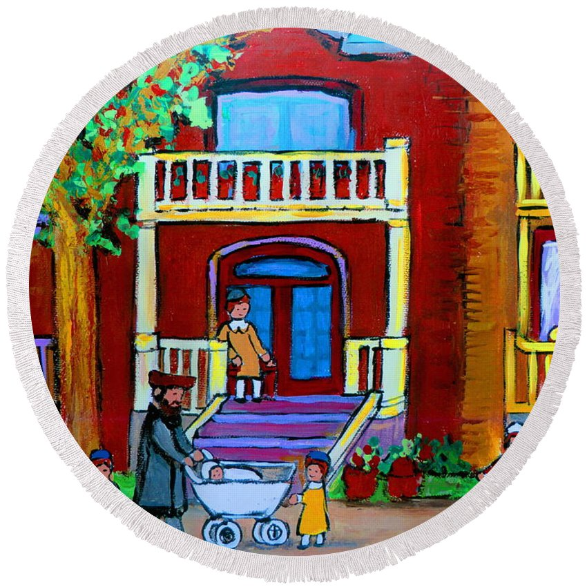 Judaica Round Beach Towel featuring the painting Durocher Street Montreal by Carole Spandau