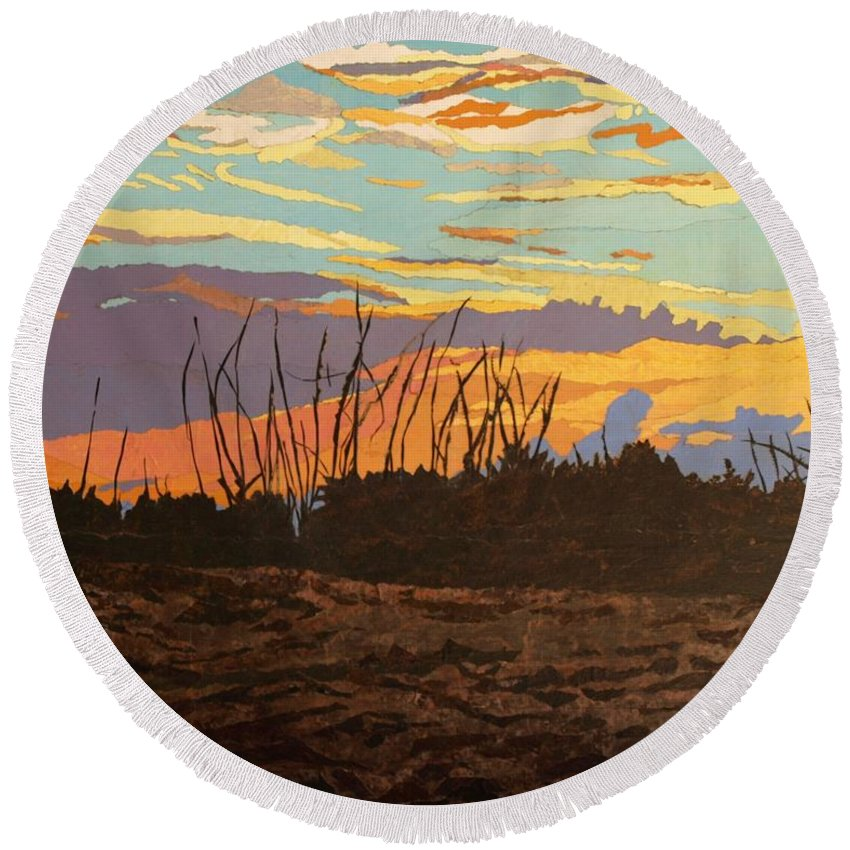 Sunset Round Beach Towel featuring the painting Dusk Fishing, Hutchinson Island by Leah Tomaino