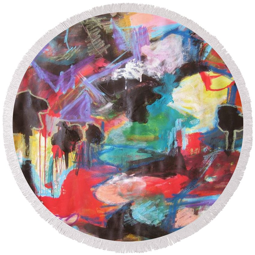 Original Round Beach Towel featuring the painting dusk in Bay Roberts by Seon-Jeong Kim