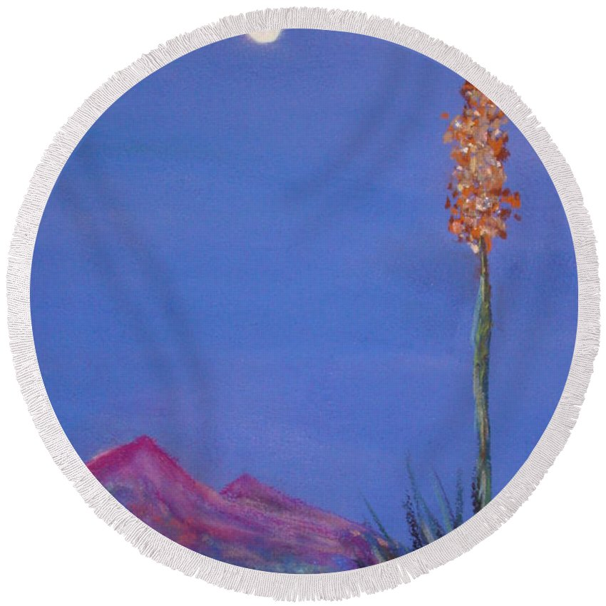 Evening Round Beach Towel featuring the painting Dusk by Melinda Etzold
