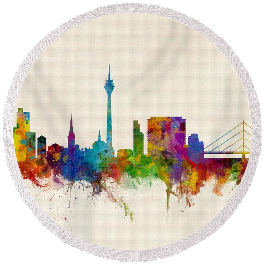 Düsseldorf Round Beach Towel featuring the digital art Dusseldorf Germany Skyline by Michael Tompsett