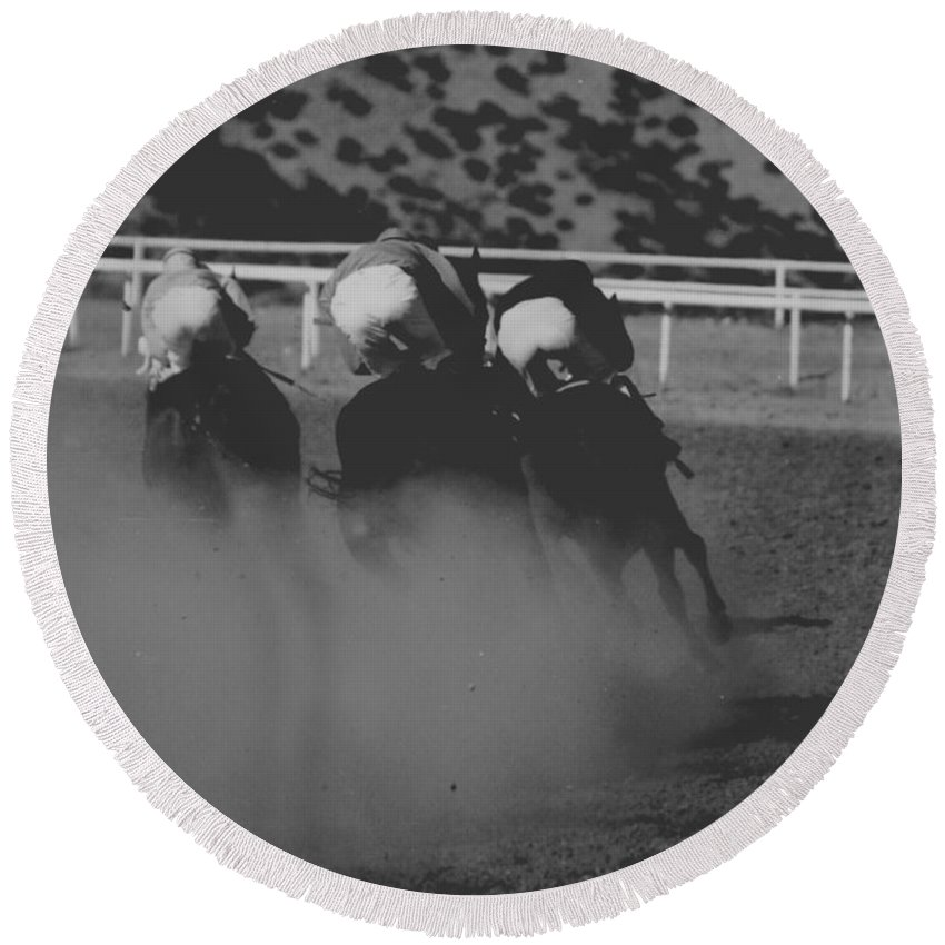 Horse Round Beach Towel featuring the photograph Dust and Butts by Kathy McClure