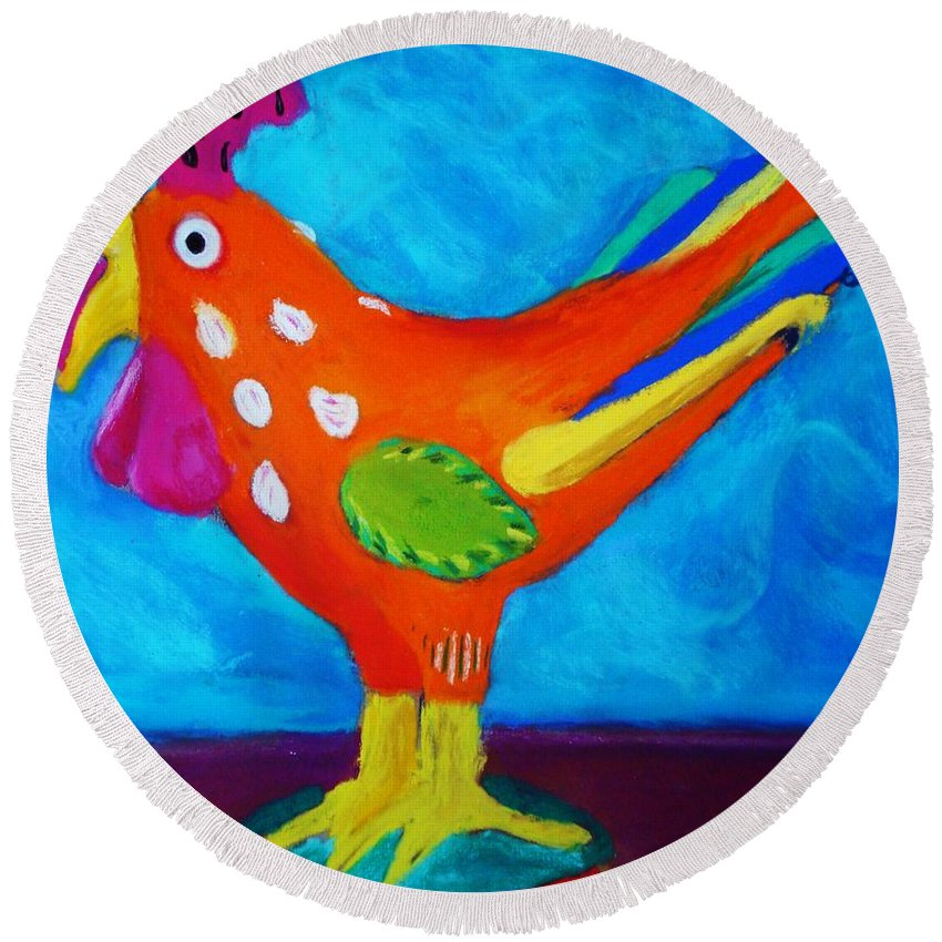 Bird Round Beach Towel featuring the pastel Dusty's Chick by Melinda Etzold