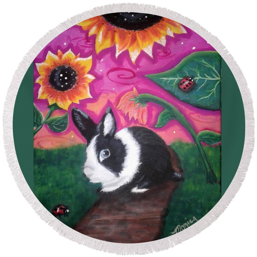 Dutch Bunny Round Beach Towel featuring the painting Dutch Bunny at Dusk by Monica Resinger
