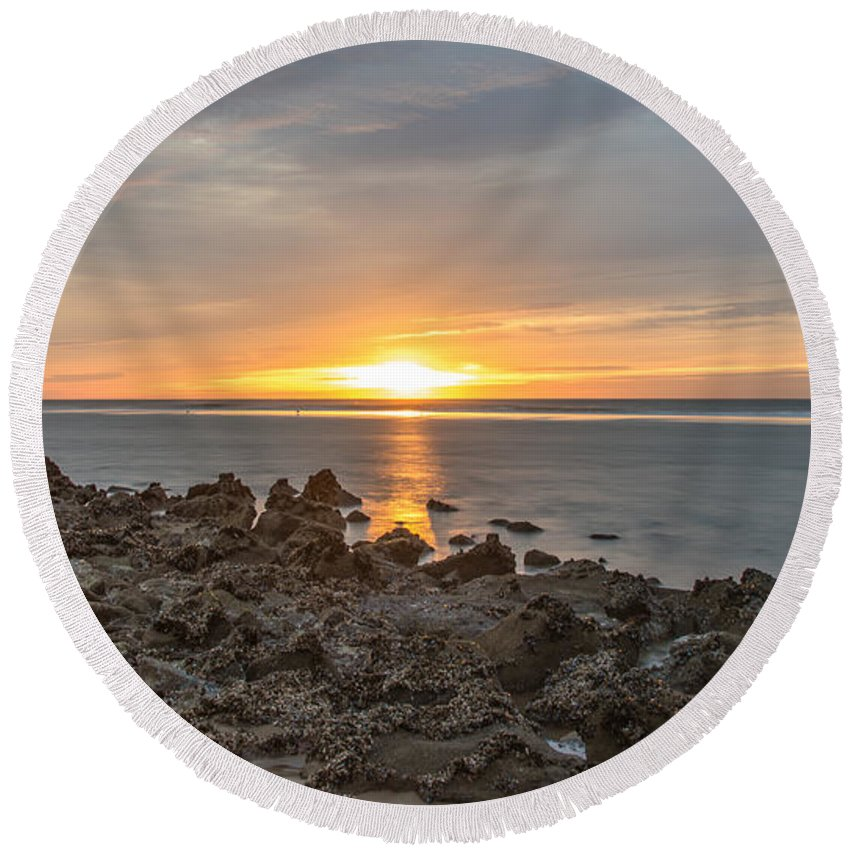 Beach Round Beach Towel featuring the photograph Dutch December Beach 002 by Alex Hiemstra