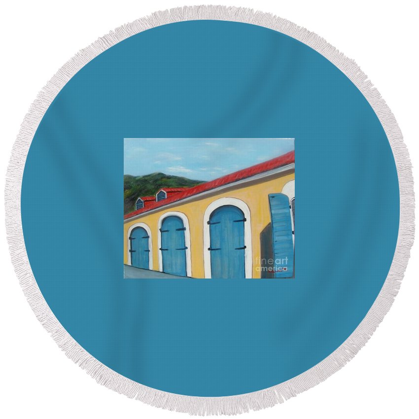 Doors Round Beach Towel featuring the painting Dutch Doors Of St. Thomas by Laurie Morgan