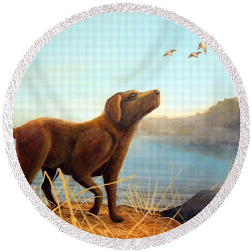 Chocolate Lab Painting Round Beach Towel featuring the Dutch by Rick Huotari