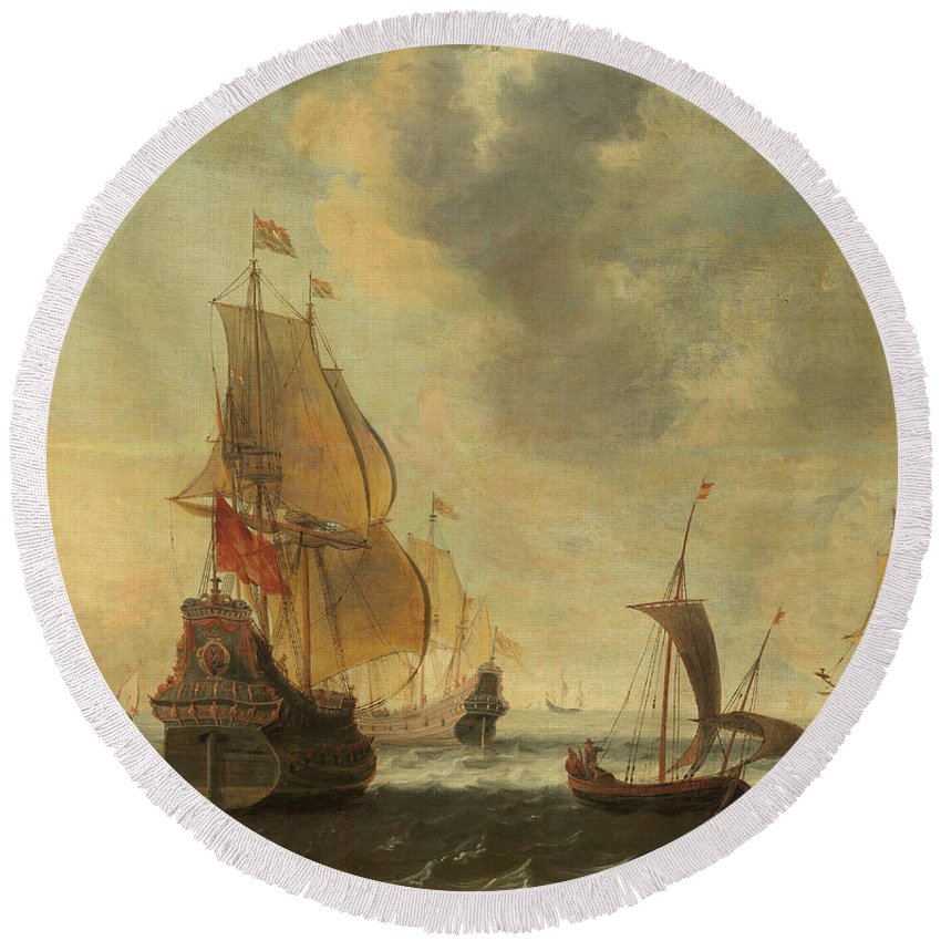 Jacob Adriaensz Bellevois Round Beach Towel featuring the painting Dutch Ships In A Lively Breeze by Jacob Adriaensz Bellevois