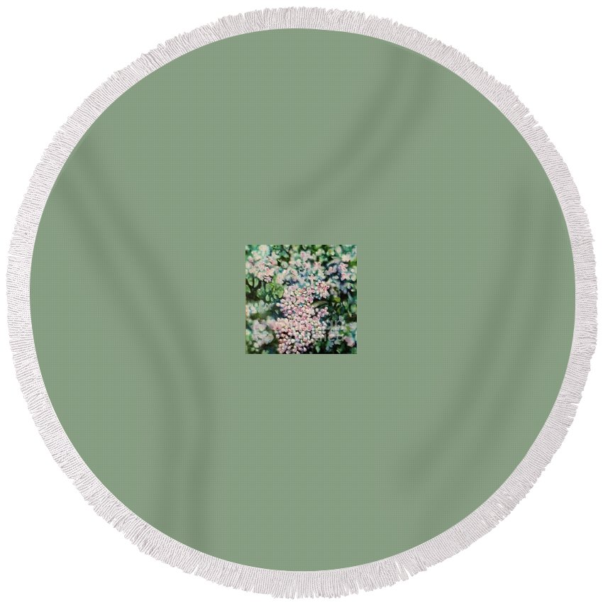 Lilacs Round Beach Towel featuring the painting Dwarf Korean Lilac by Karen Sloan