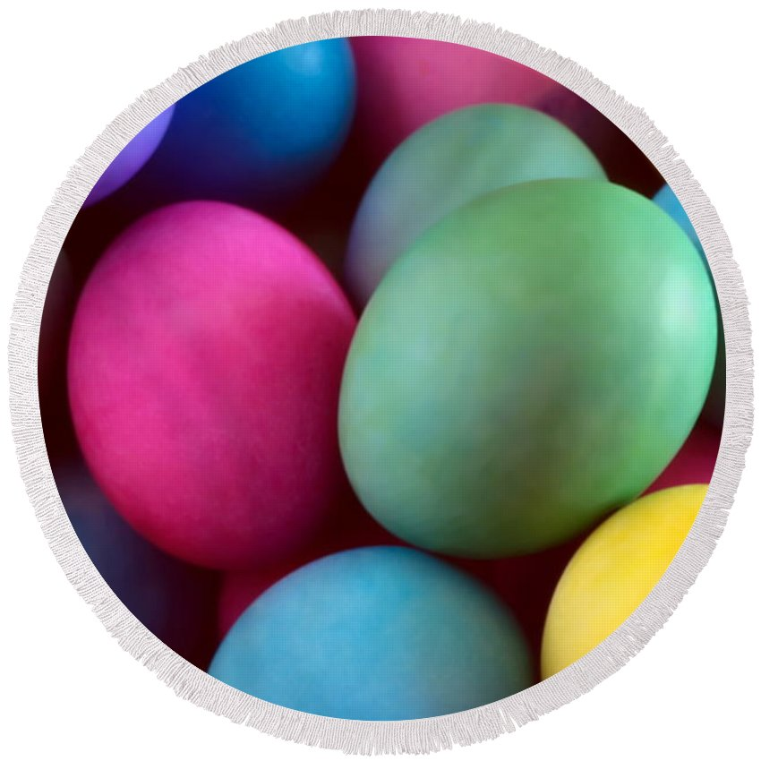 Easter Round Beach Towel featuring the photograph Dyed Easter Egg Abstract by Steve Ohlsen