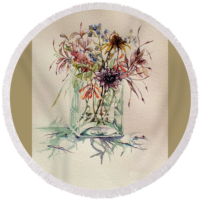 Floral Still Life Round Beach Towel featuring the painting Dying Meadow by Laurel Adams