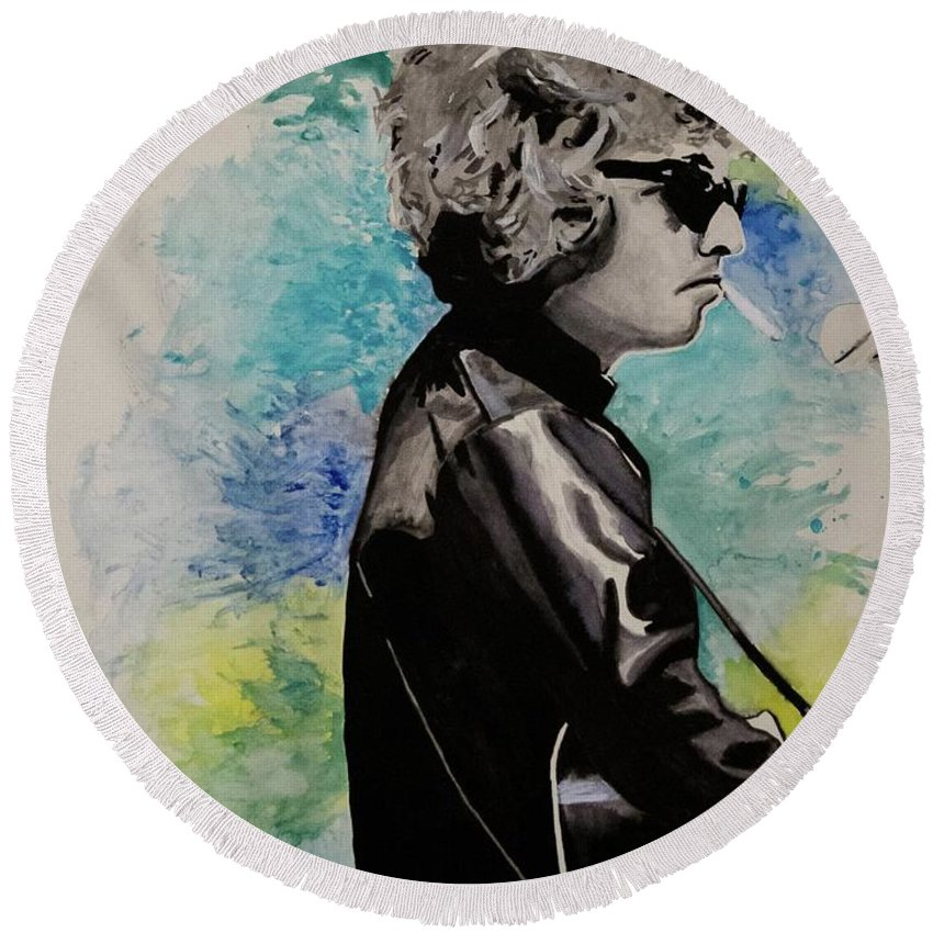 Bob Dylan Round Beach Towel featuring the painting Dylan 1 by Austin James