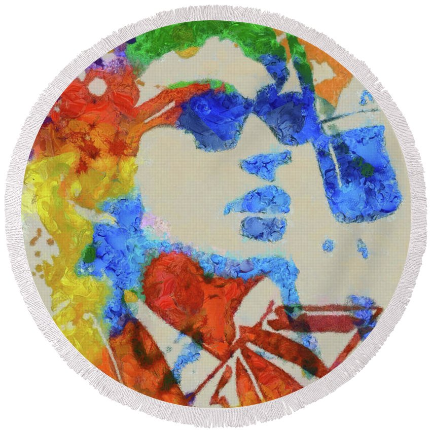 Bob Dylan Watercolor Round Beach Towel featuring the painting Dylan Watercolor by Dan Sproul