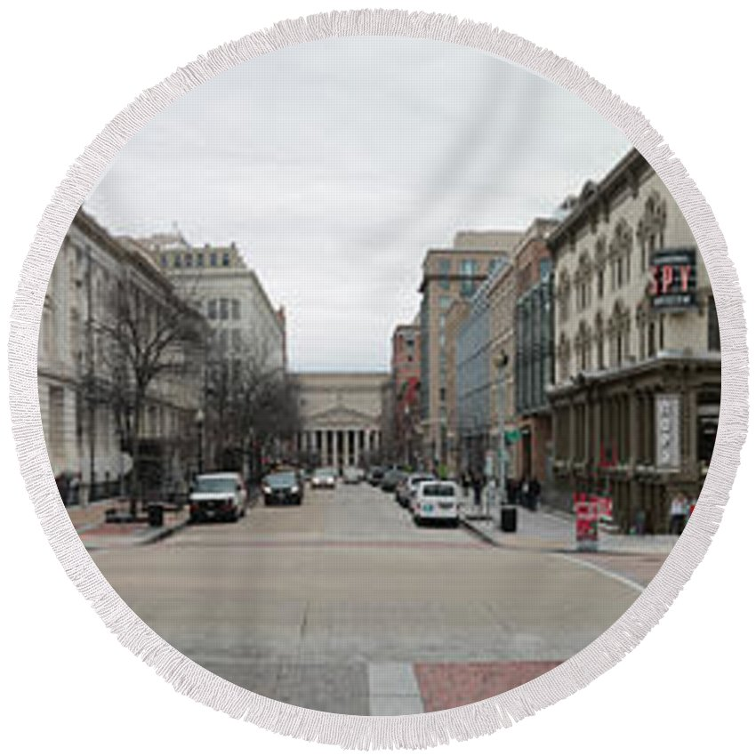 Architecture Round Beach Towel featuring the photograph E Street Panorama by Thomas Marchessault