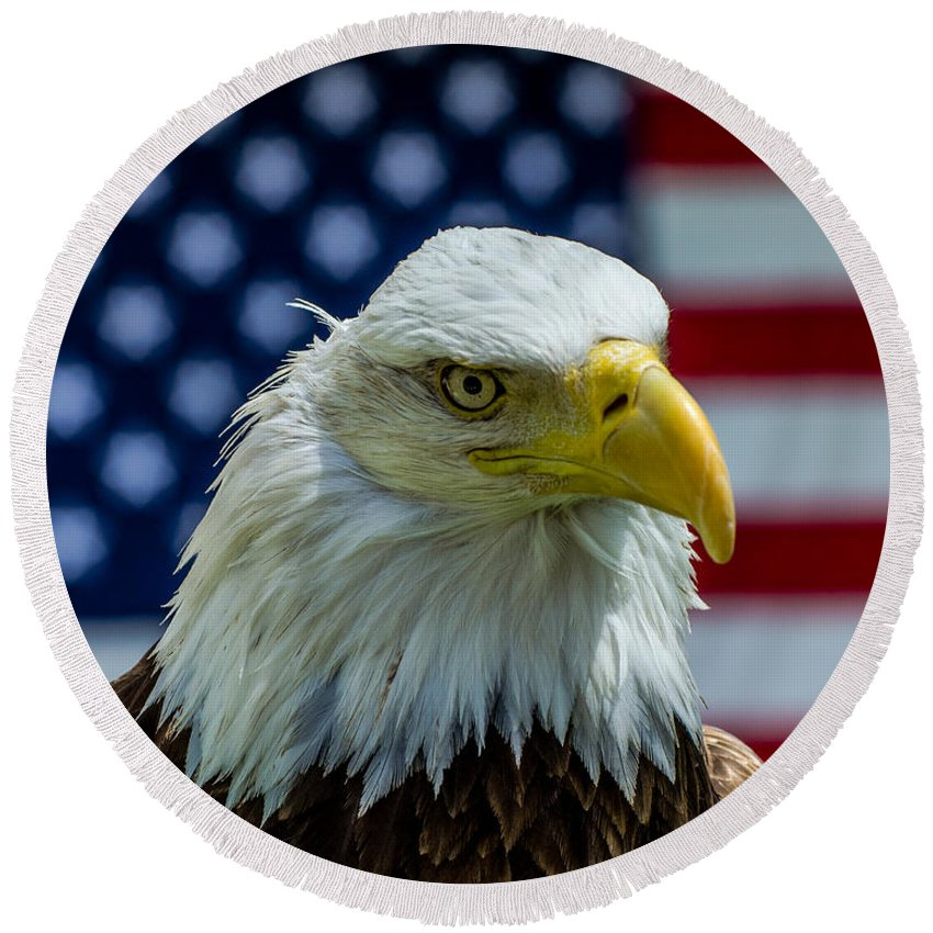 America Round Beach Towel featuring the photograph Eagle 3 by Cameron Knudsen