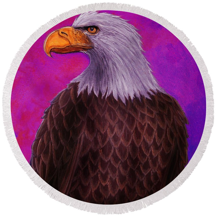 Eagle Round Beach Towel featuring the painting Eagle Crimson Skies by Nick Gustafson