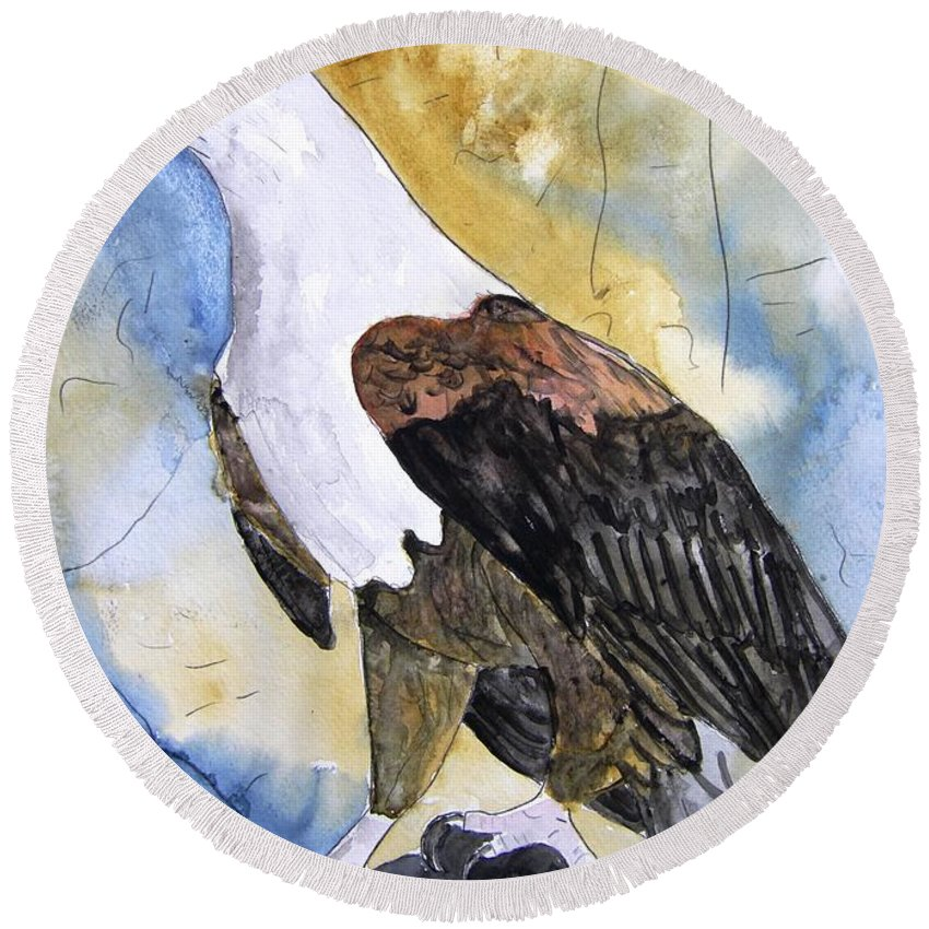 Realistic Round Beach Towel featuring the painting Eagle by Derek Mccrea