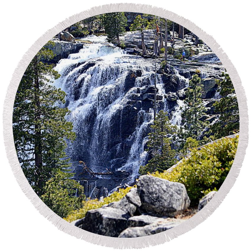 Scenic Round Beach Towel featuring the photograph Eagle Falls by AJ Schibig
