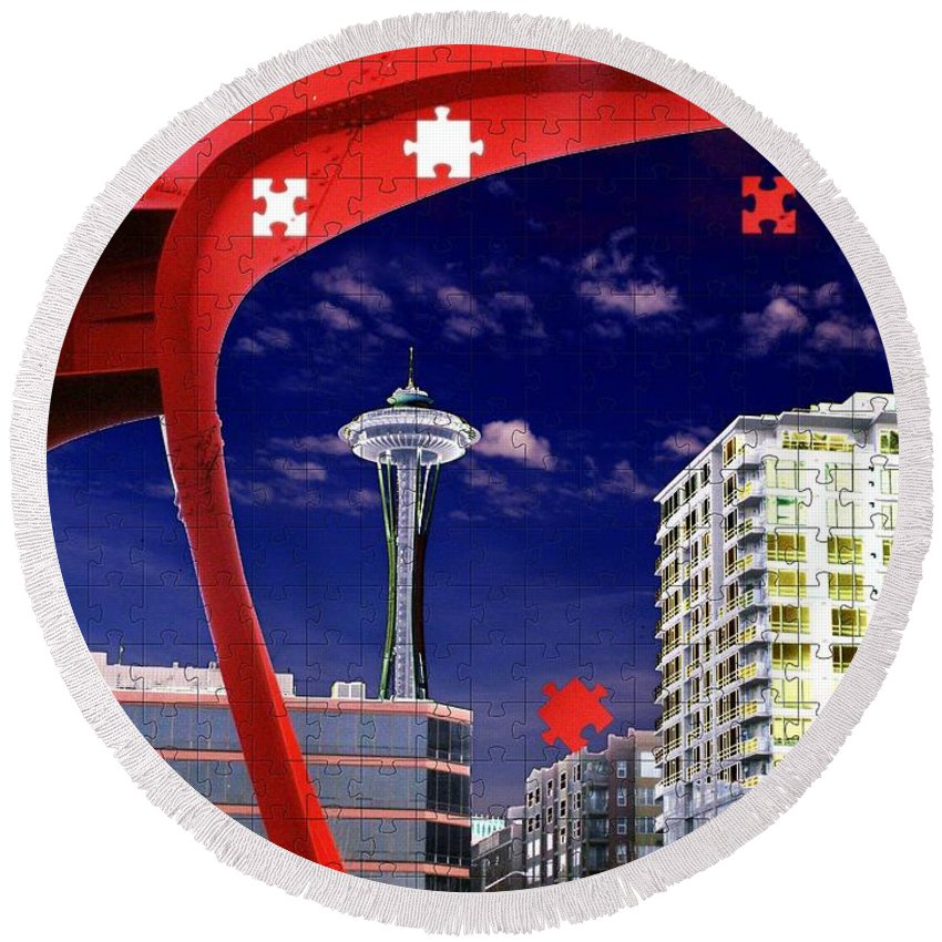 Seattle Round Beach Towel featuring the digital art Eagle Needle by Tim Allen