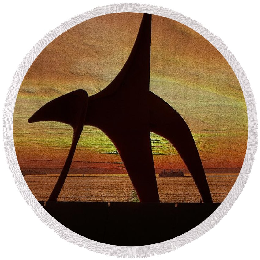 Seattle Round Beach Towel featuring the digital art Eagle Sunset Over Elliott Bay by Tim Allen