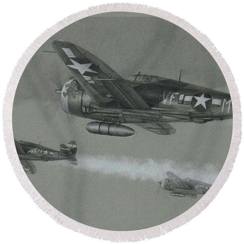 P-47 Round Beach Towel featuring the drawing Eagles Of Thunder by Wade Meyers