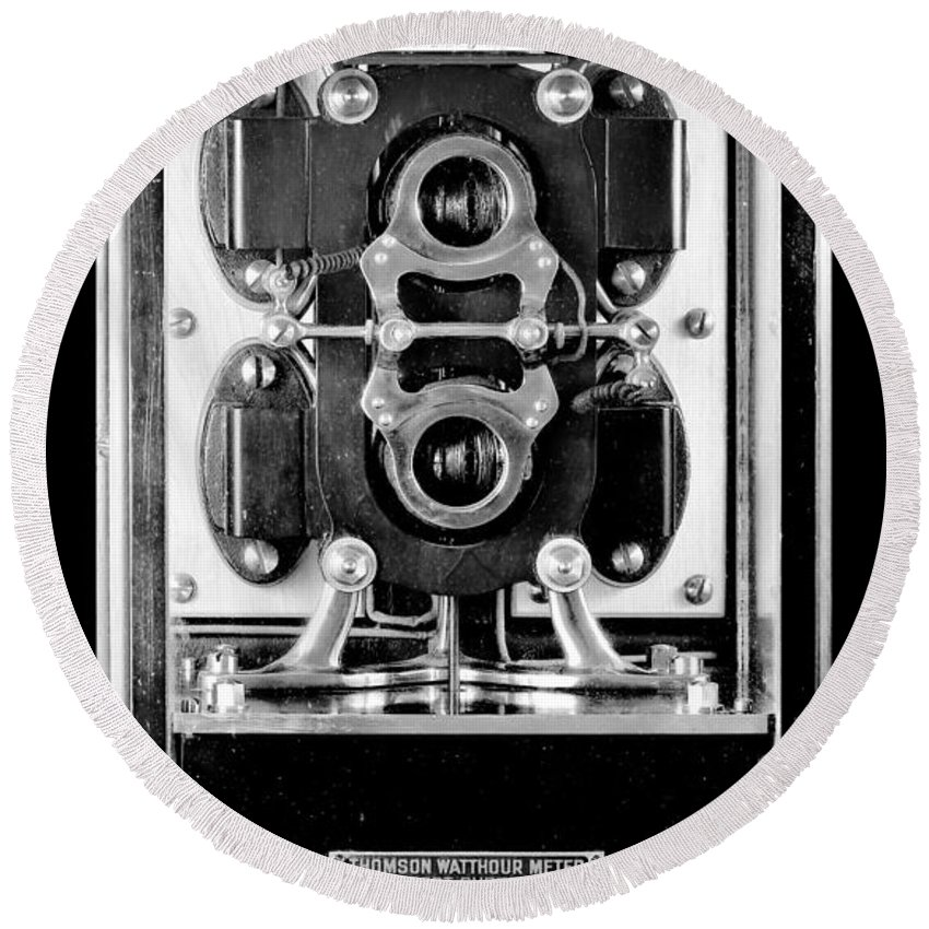 Black Round Beach Towel featuring the photograph Early 1900s Type Cs Watthour Meter In Black And White by Larry Jost