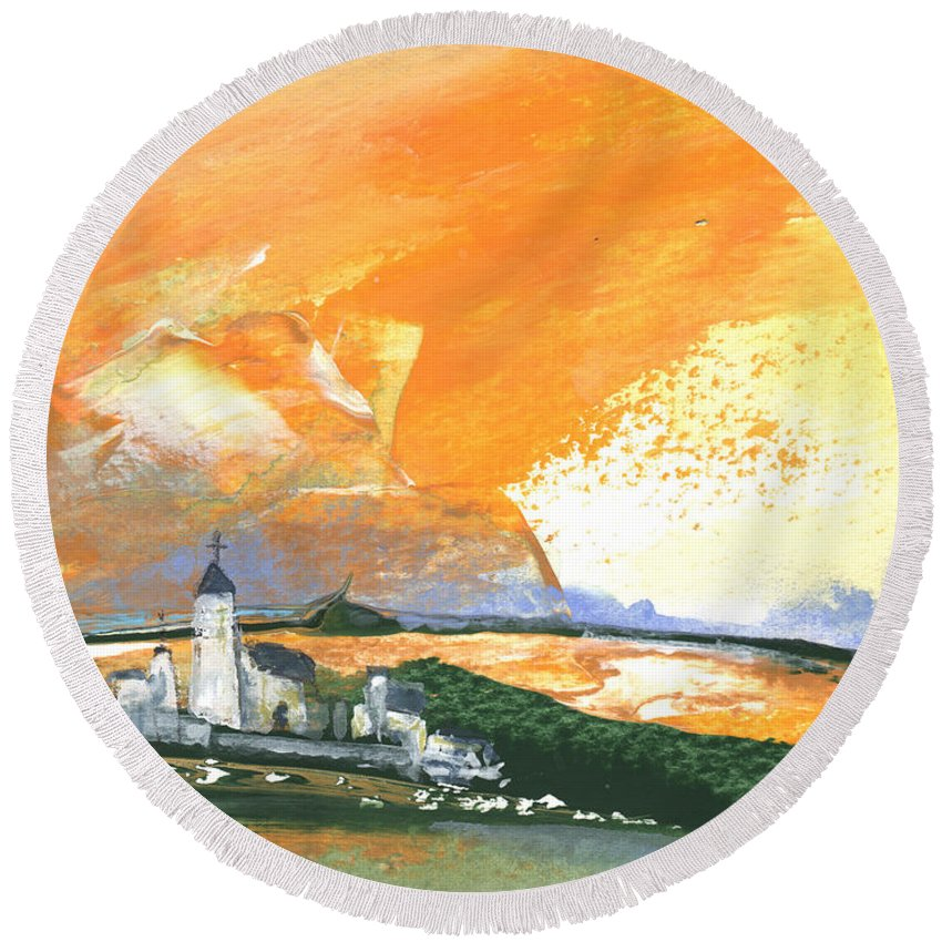 Watercolour Landscape Round Beach Towel featuring the painting Early Afternoon 15 by Miki De Goodaboom