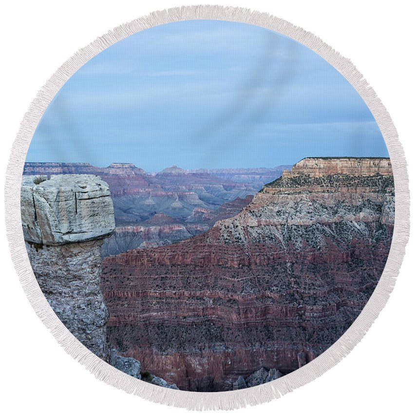 Grand Canyon Round Beach Towel featuring the photograph Early Evening At Grand Canyon No. 2 by Belinda Greb