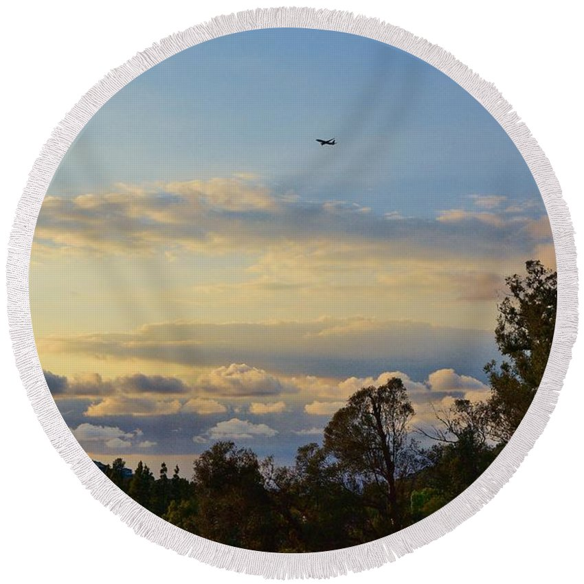 Linda Brody Round Beach Towel featuring the photograph Early Evening Sunset 2 by Linda Brody