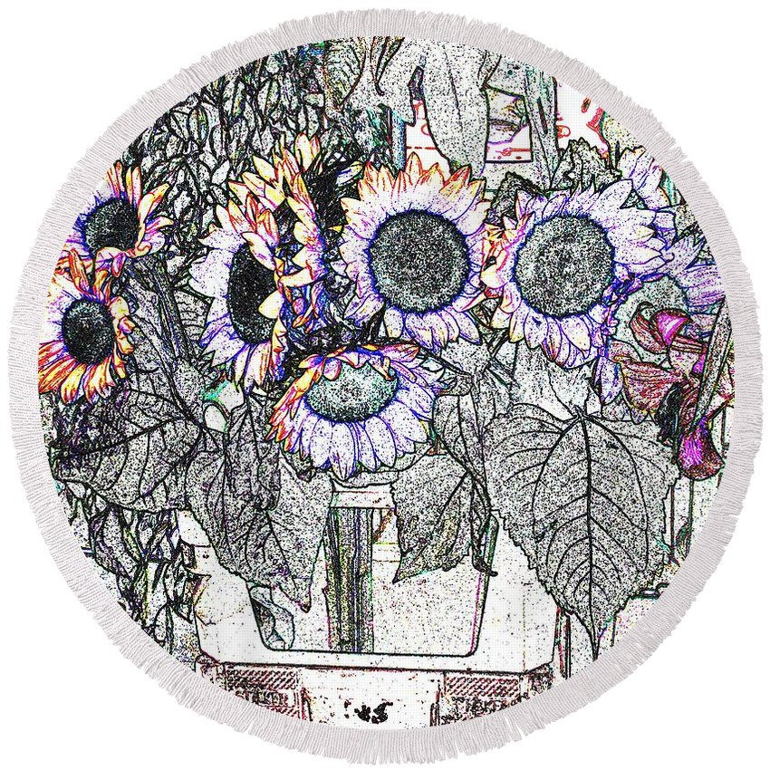 Flower Round Beach Towel featuring the digital art Early Flower Study by Ian MacDonald