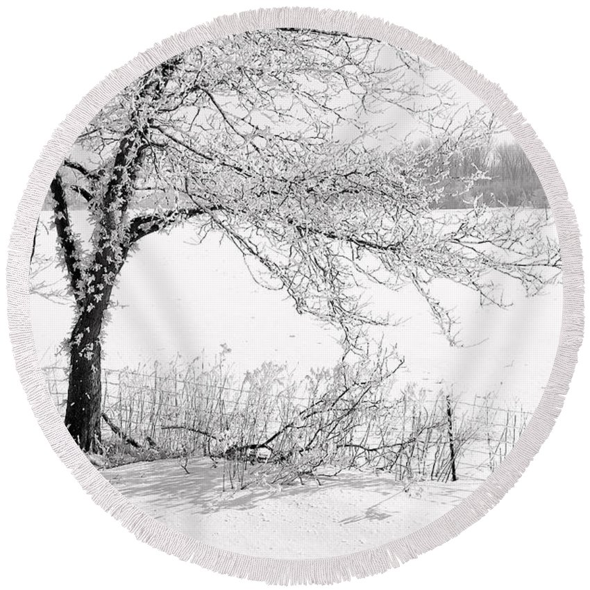 Canada Round Beach Towel featuring the photograph Early Frost by Doug Gibbons