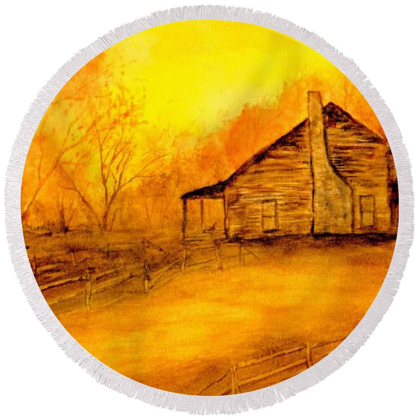 Cabin Round Beach Towel featuring the painting Early Kentucky Times by Gail Kirtz