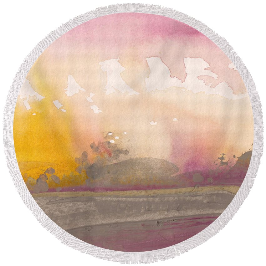 Nature Round Beach Towel featuring the painting Early Morning 03 by Miki De Goodaboom